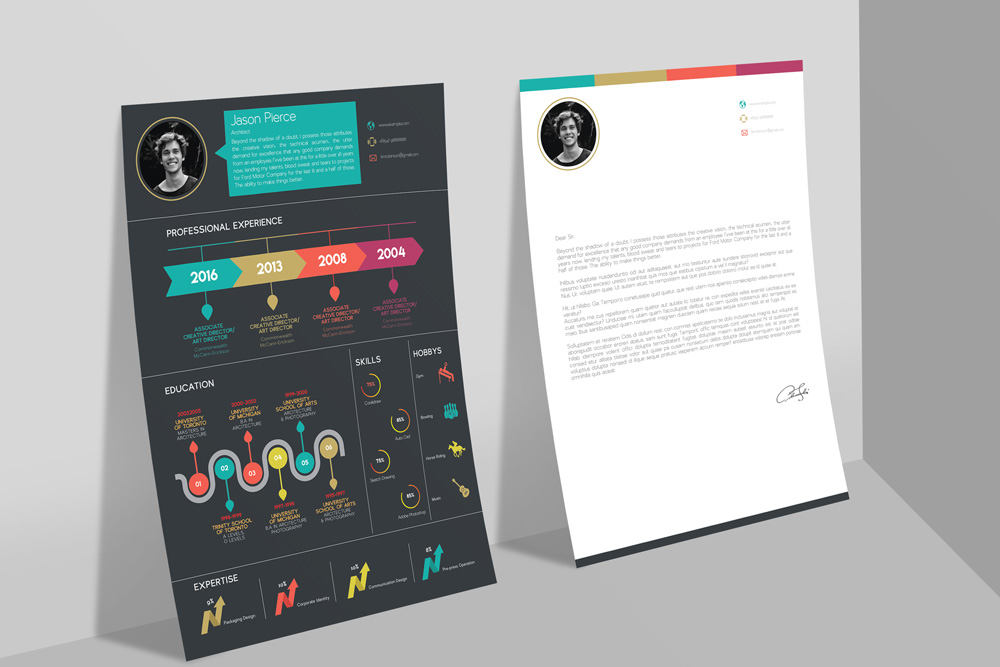 Free Creative Infographic Resume Template With Cover Letter INDD File (3)