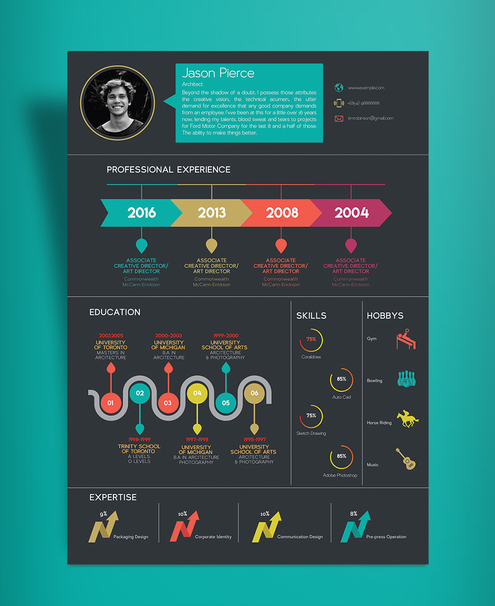 Free Creative Infographic Resume Template With Cover Letter INDD File (4)