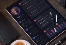 Free Dark & Modern Resume (CV) Design Template With Cover Letter & Portfolio PSD Files