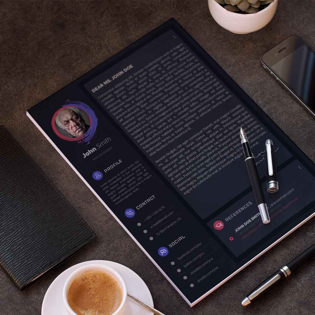 Free Dark & Modern Resume (CV) Design Template With Cover Letter & Portfolio PSD Files (4)