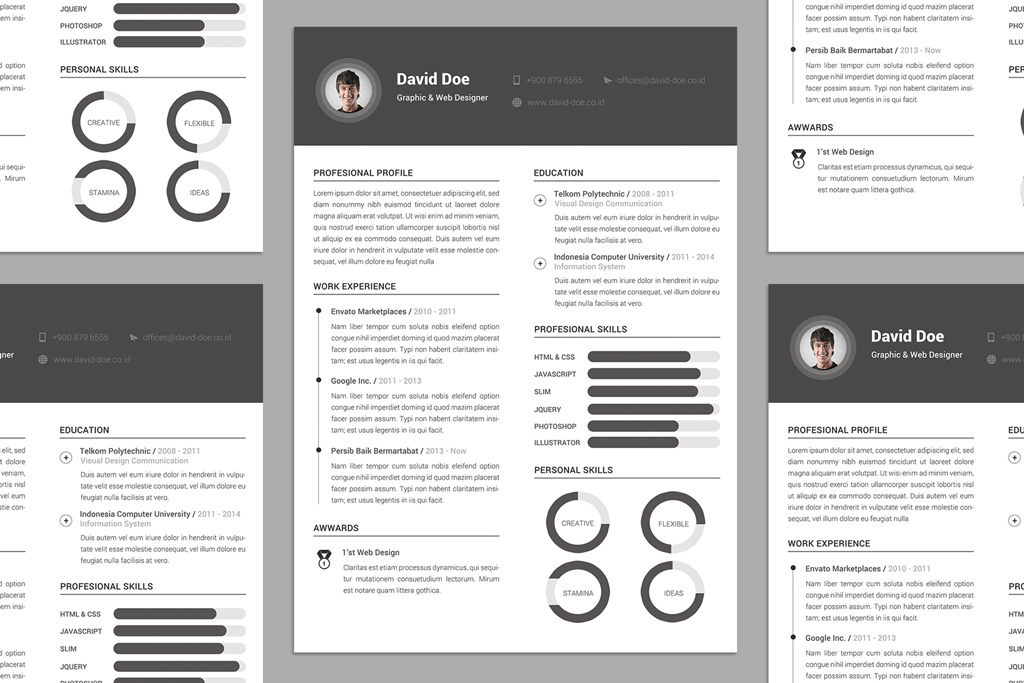 free elegant resume  cv  design template psd file