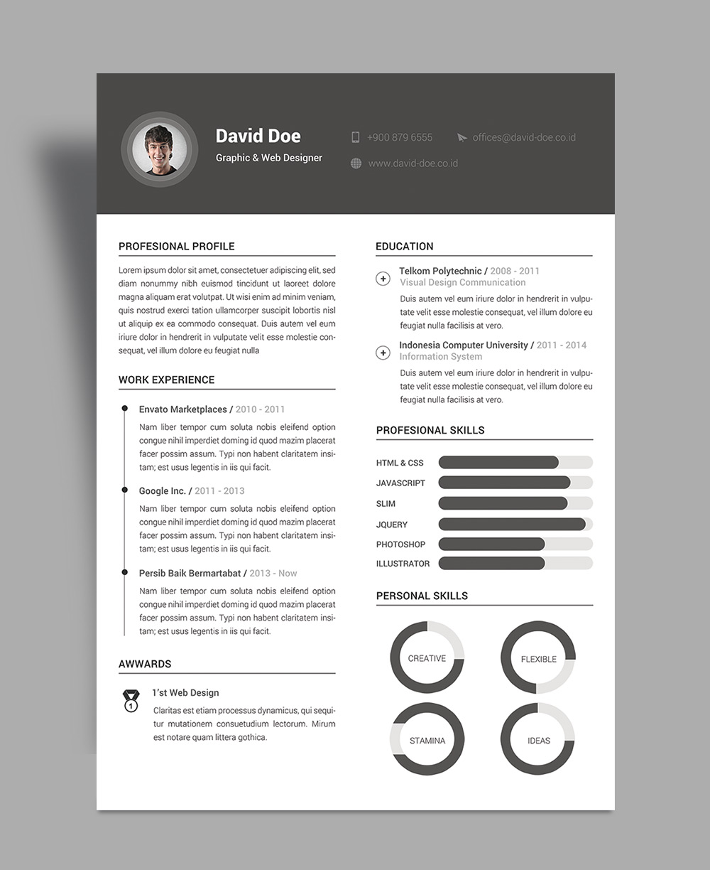 free resume cv design template psd file