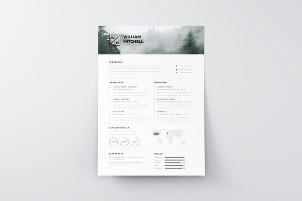 Free Minimalist Resume (CV) Design Template PSD & Ai Files (1)