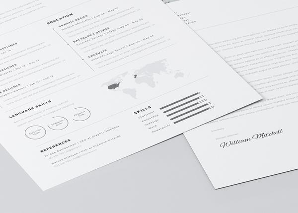 Free Minimalist Resume (CV) Design Template PSD & Ai Files (2)