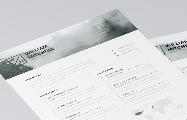 Free Minimalist Resume (CV) Design Template PSD & Ai Files (3)