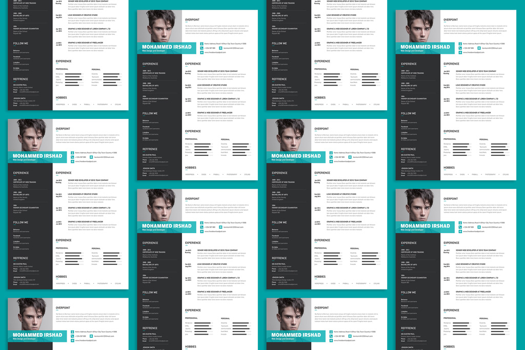 free modern resume cv design template psd file