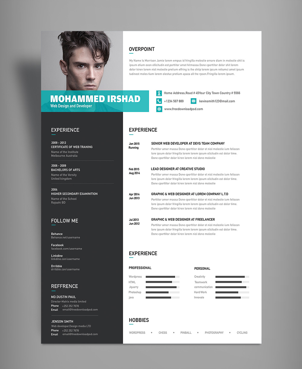 free modern resume cv design template psd file good resume. Black Bedroom Furniture Sets. Home Design Ideas