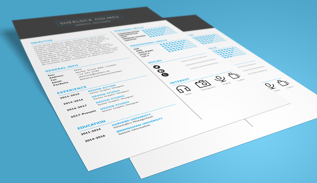 Free Multipurpose Resume (CV) Design Template PSD File ...