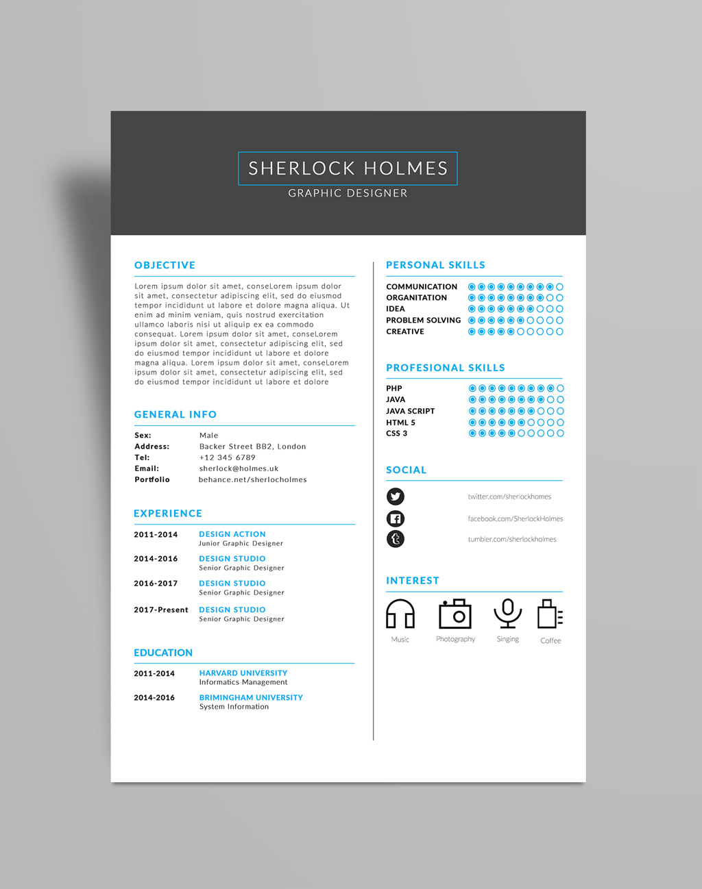 Free Multipurpose Resume (CV) Design Template PSD File (3)