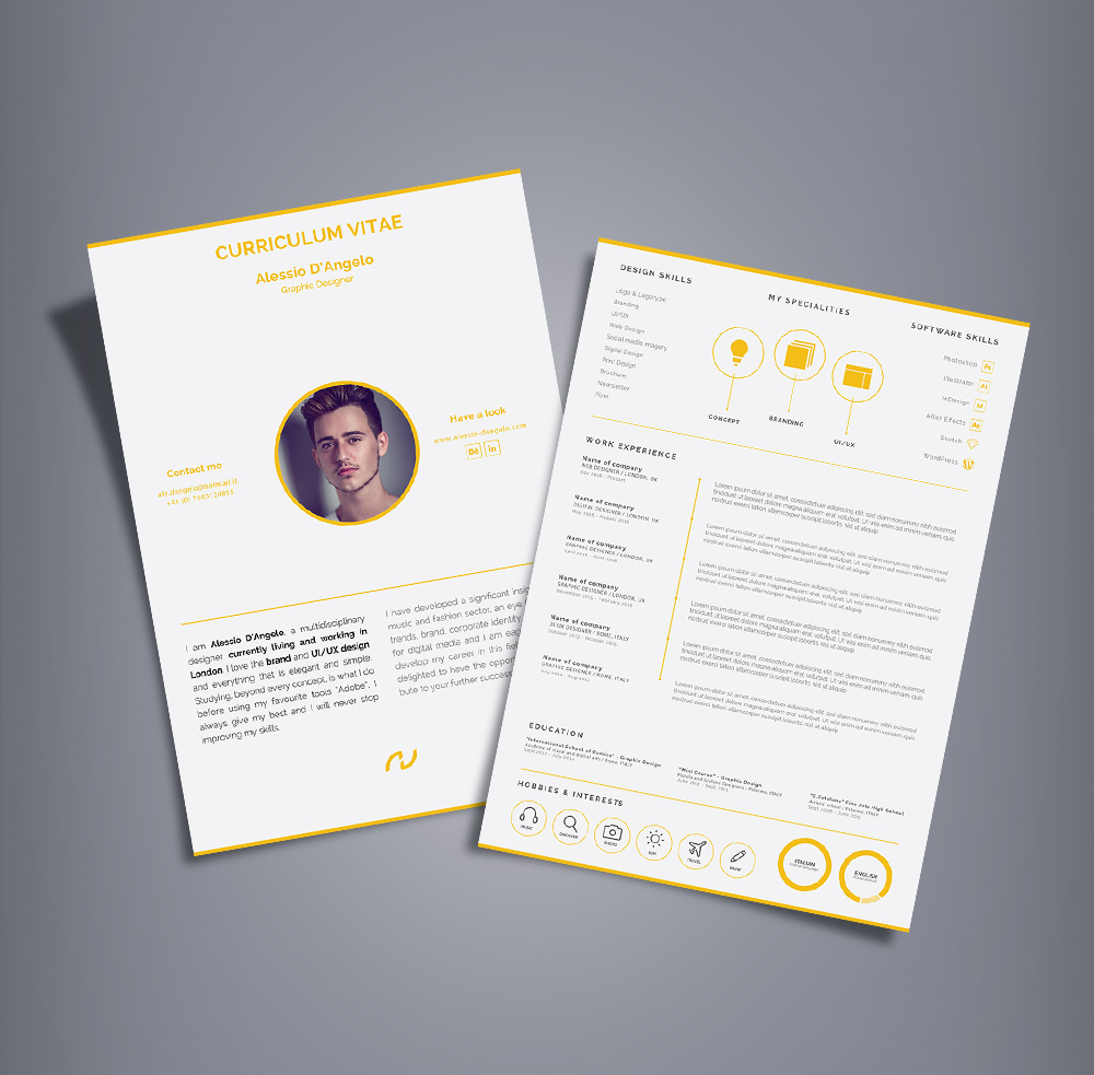 Free Professional 2 Page Resume Design (CV) Template Ai File (1)