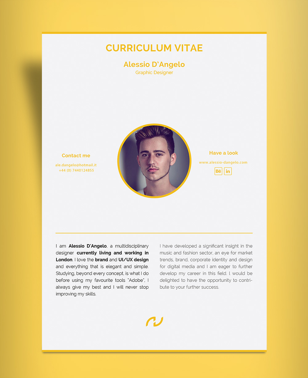 professional page resume design cv template ai file