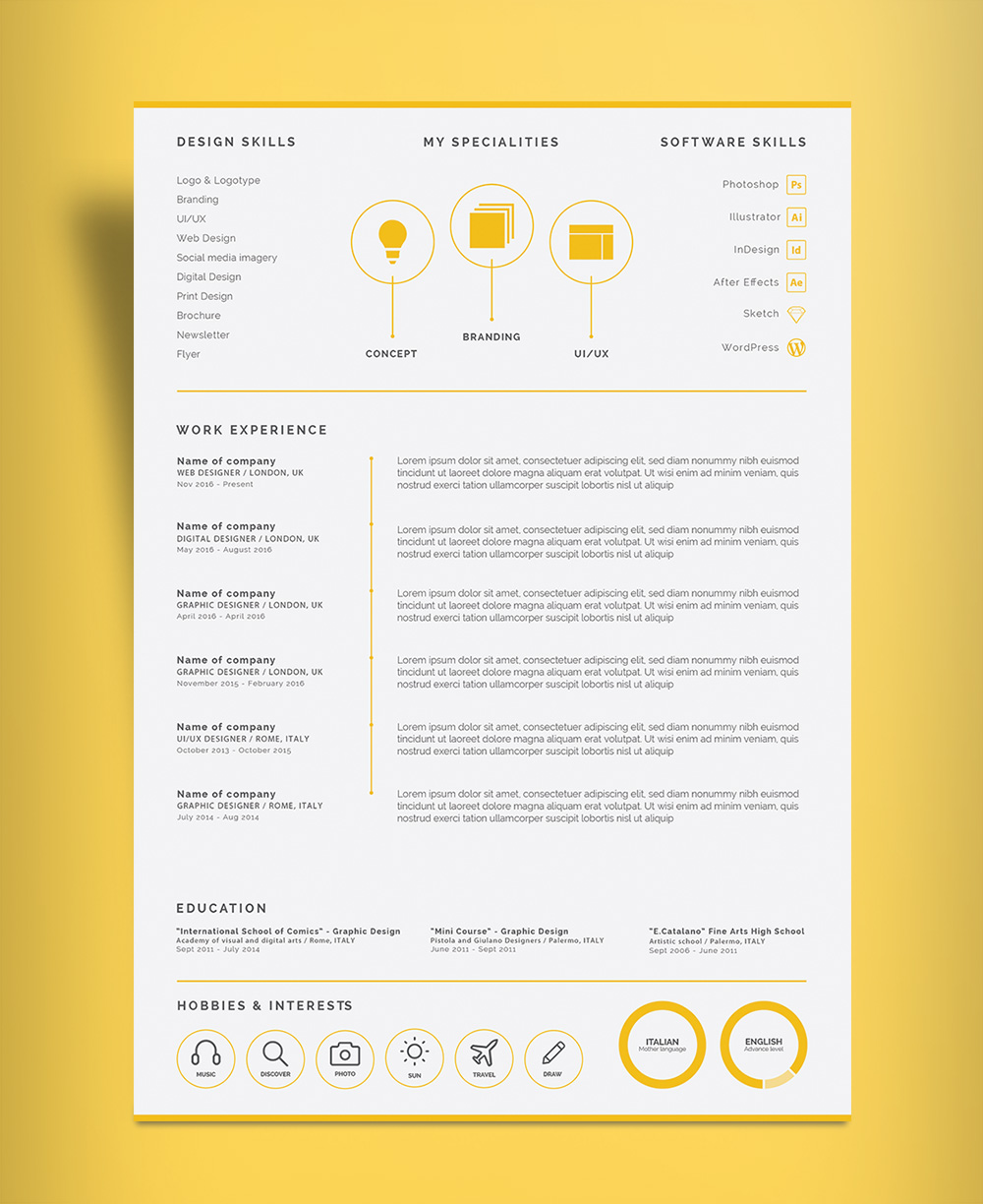 Free Professional  Page Resume Design Cv Template Ai File  Good
