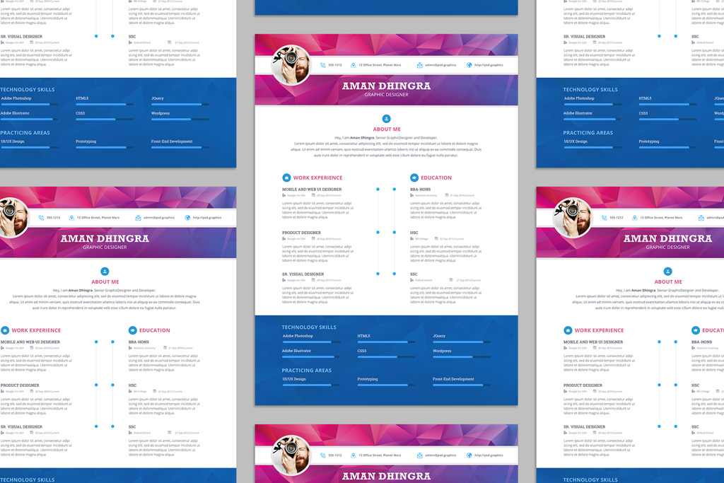 Free Professional Resume (CV) Design Template For Designers PSD File (1)