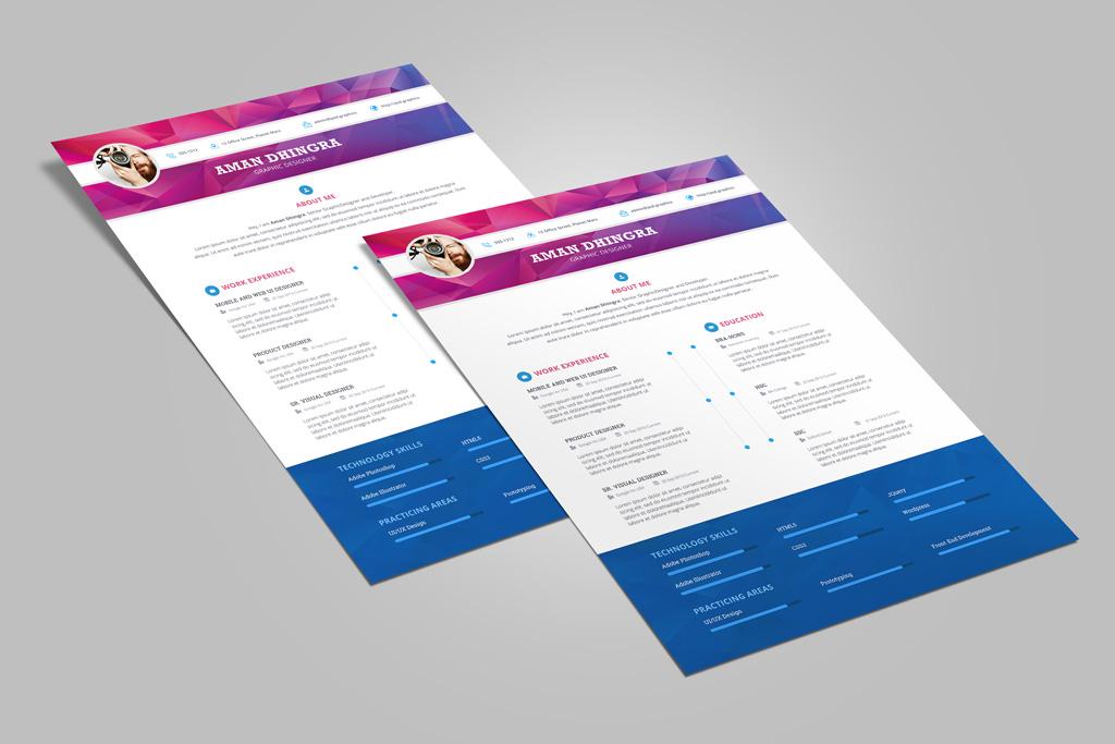 Free Professional Resume (CV) Design Template For Designers PSD File (3)