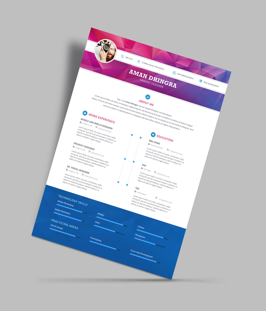 Free Professional Resume (CV) Design Template For Designers PSD File (4)