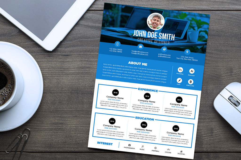 Free Professional Resume (CV) Design Template PSD File ...