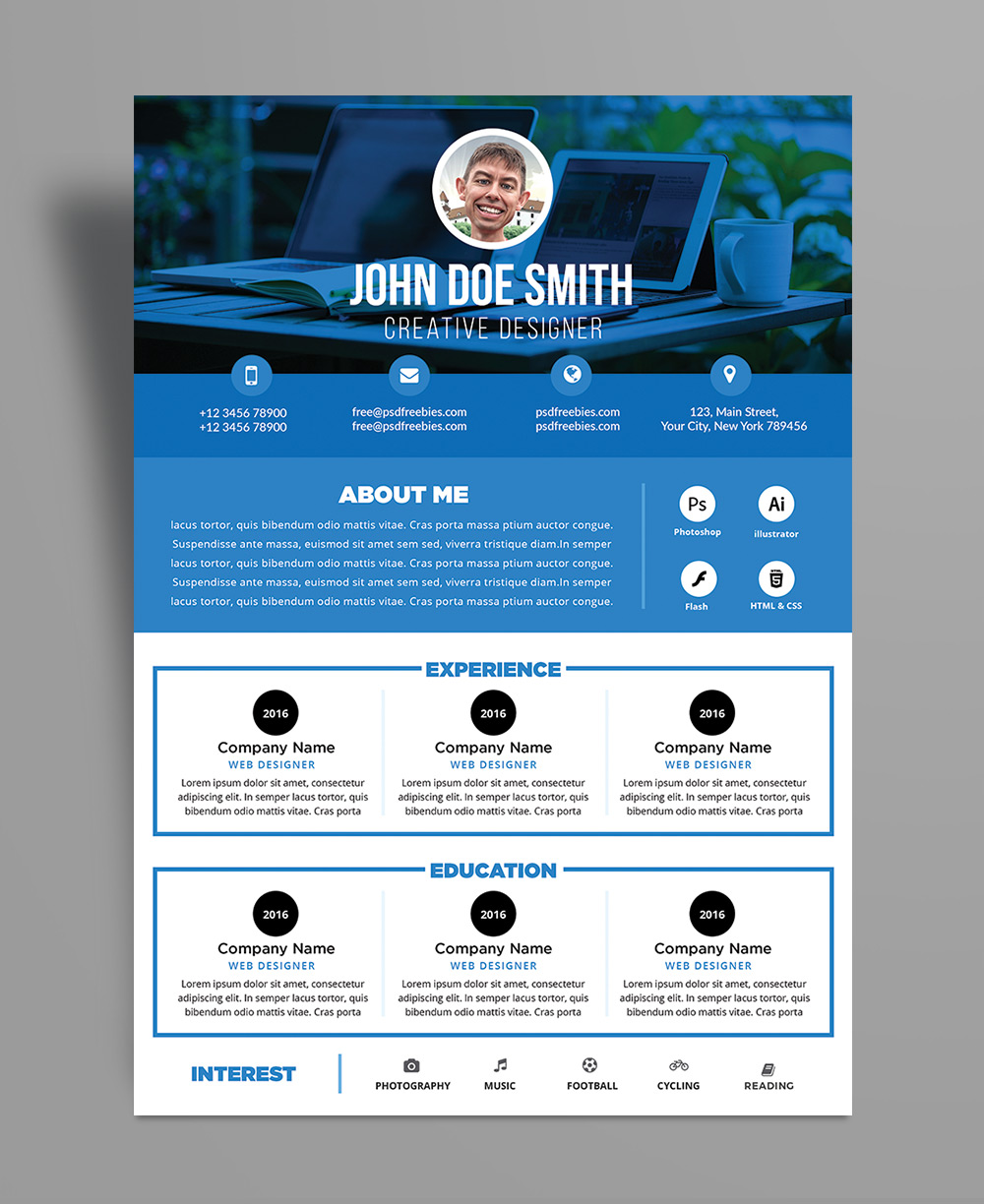 Free Professional Resume (CV) Design Template PSD File (2)