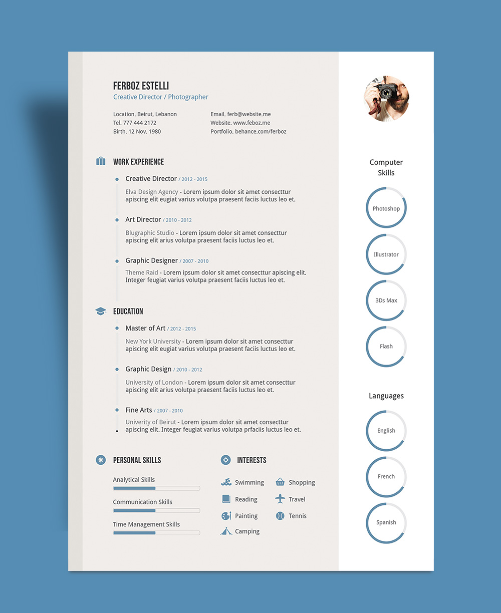 Free Professional Resume (CV) Template With Cover Letter & Portfolio ...