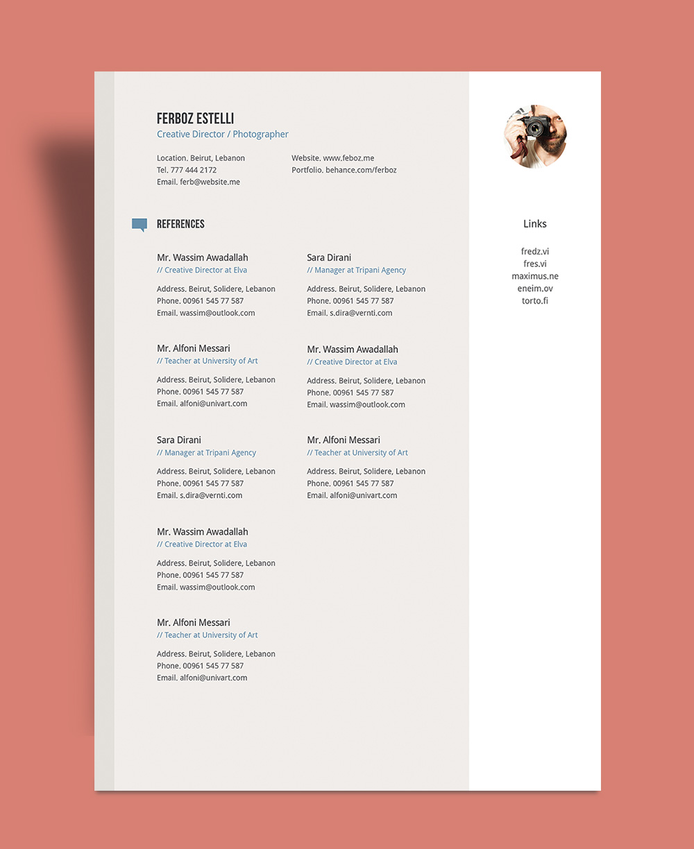 Free Professional Resume (CV) Template With Cover Letter ...