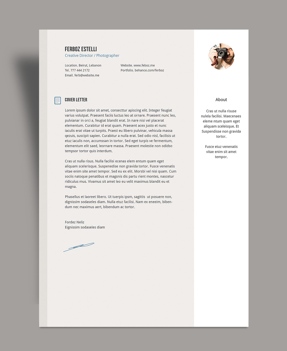 Free Professional Resume (CV) Template With Cover Letter & Portfolio For Graphic Design & Photographer Ai File-6