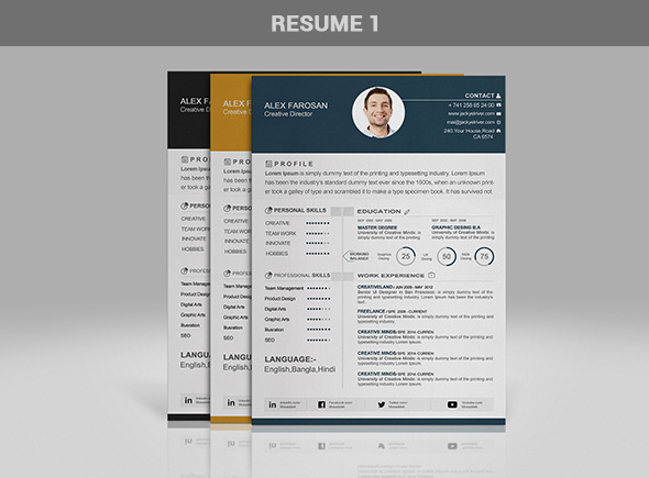free professional resume cv template in 3 different color with cover letter portfolio psd. Black Bedroom Furniture Sets. Home Design Ideas