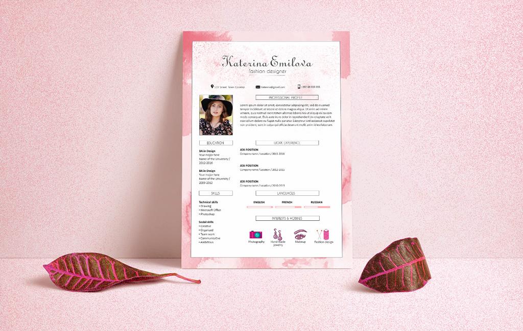 free resume  cv  design template for fashion designer psd