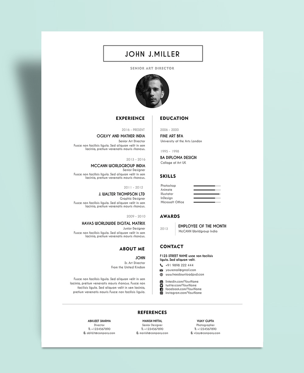 Free Simple & Minimal Layout Resume (CV) Design Template PSD File (1)