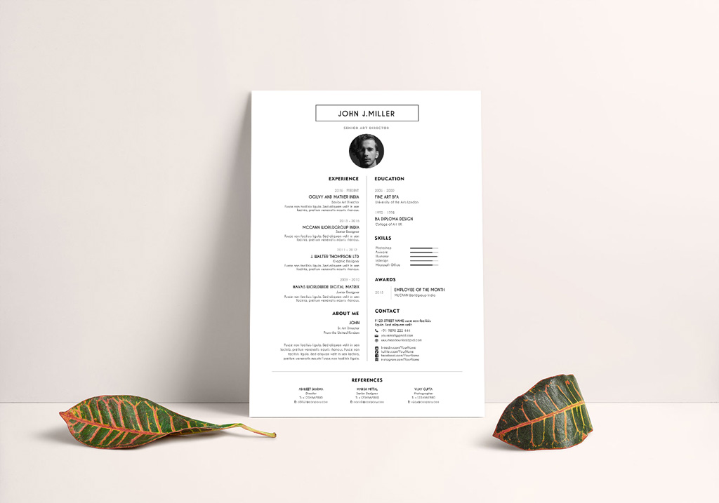 Free Simple & Minimal Layout Resume (CV) Design Template PSD File (2)