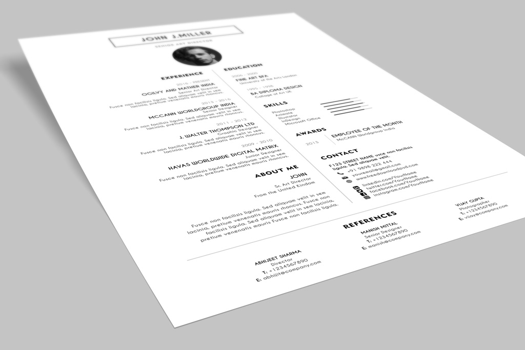 Free Simple & Minimal Layout Resume (CV) Design Template PSD File (4)