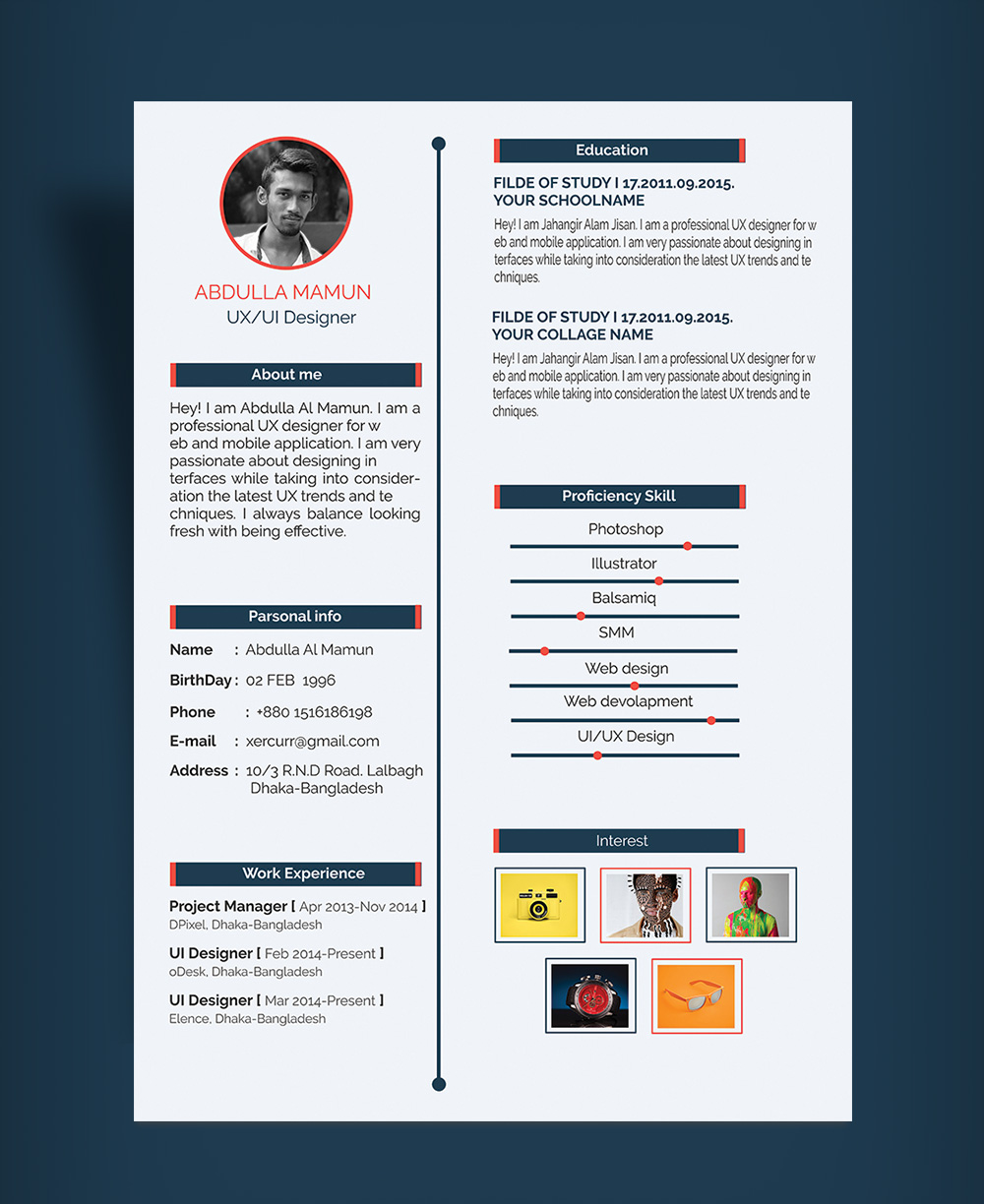 Free Simple Resume (CV) Design Template For UX-UI Designer PSD File (1)