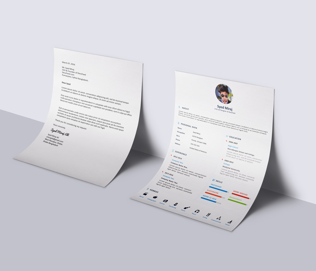 Free Simple Resume (CV) Design Template With Cover Letter PSD File (1)