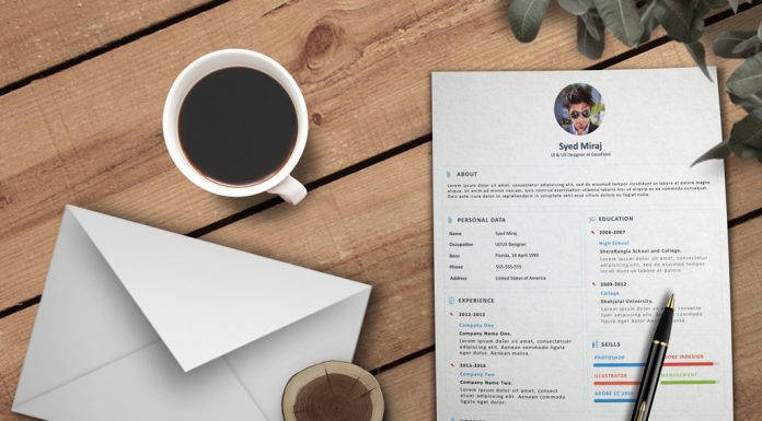 Free Simple Resume (CV) Design Template With Cover Letter PSD File (2)