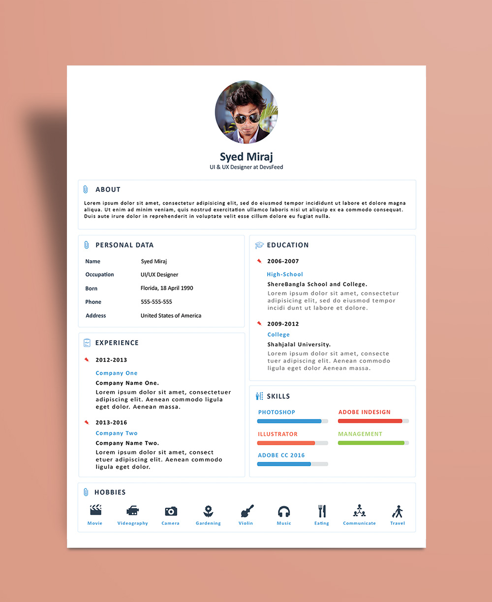 Free Simple Resume (CV) Design Template With Cover Letter PSD File (3)