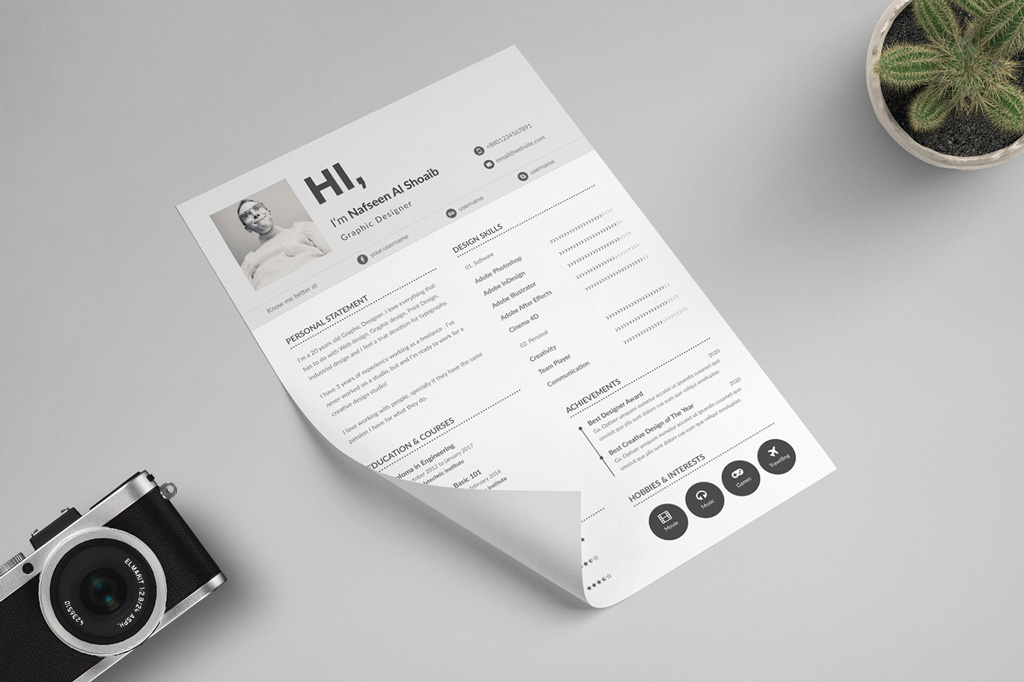 Free Unique Resume Design (CV) Template In PSD & Ai Files-2