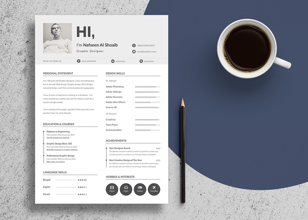 free unique resume design  cv  template in psd  u0026 ai files