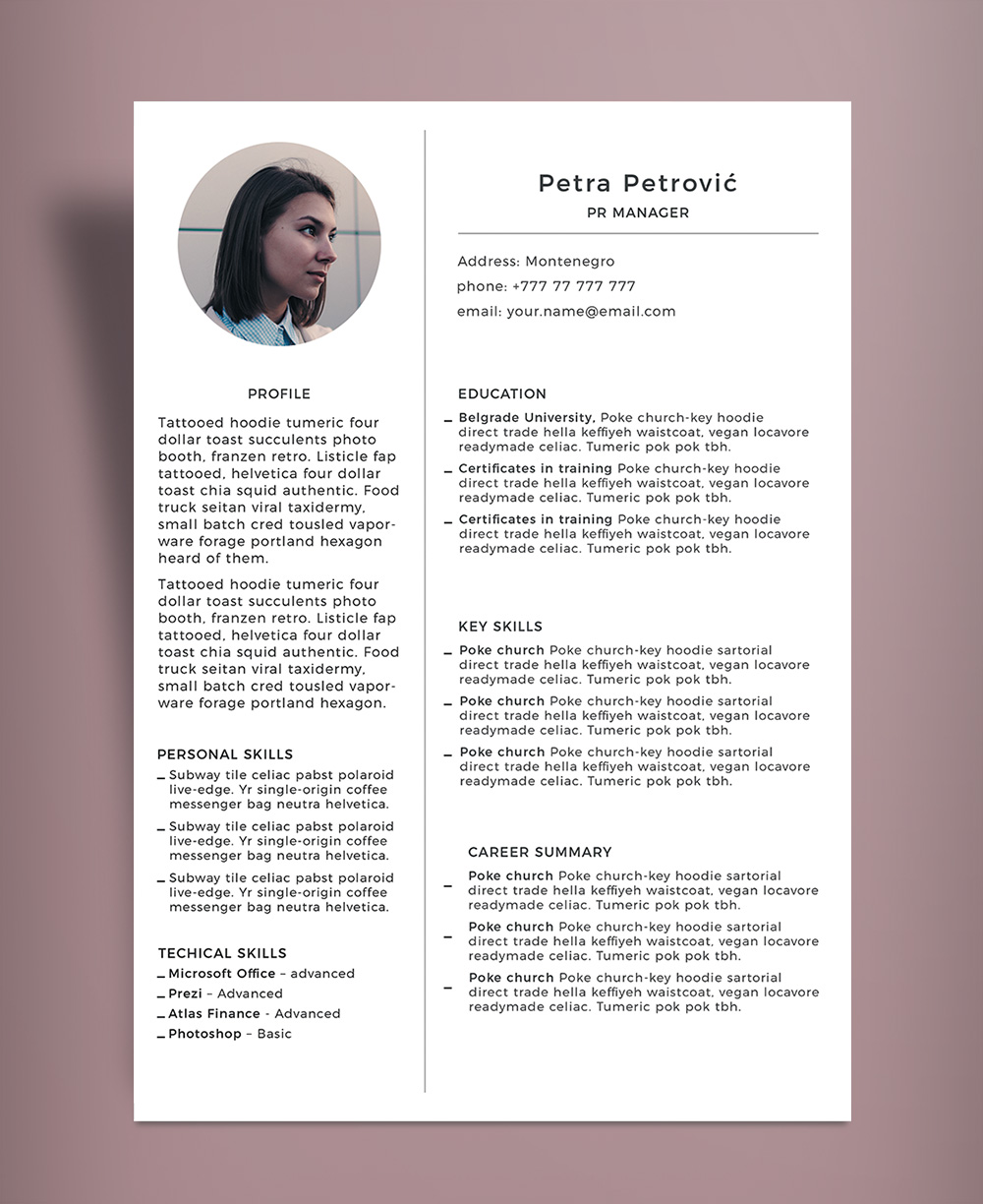 Simple & Minimal Resume (CV) Template PSD File (3)
