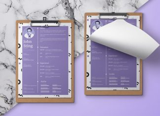 Simple Minimalist Resume (CV) Design Template Ai File (1)