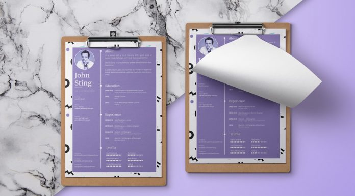 Simple Minimalist Resume (CV) Design Template Ai File (1)