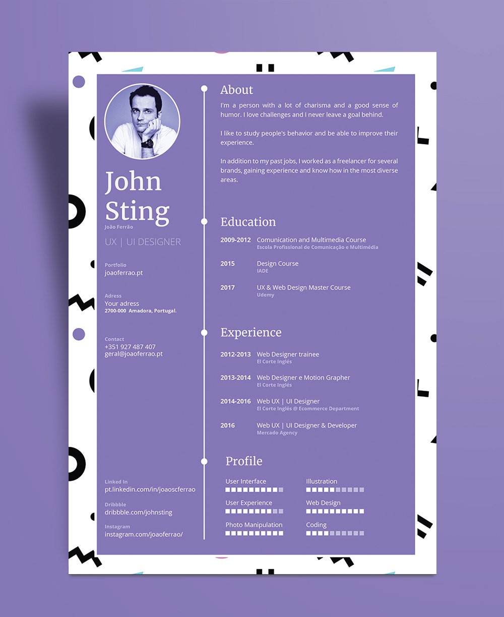 Simple Minimalist Resume (CV) Design Template Ai File (3)