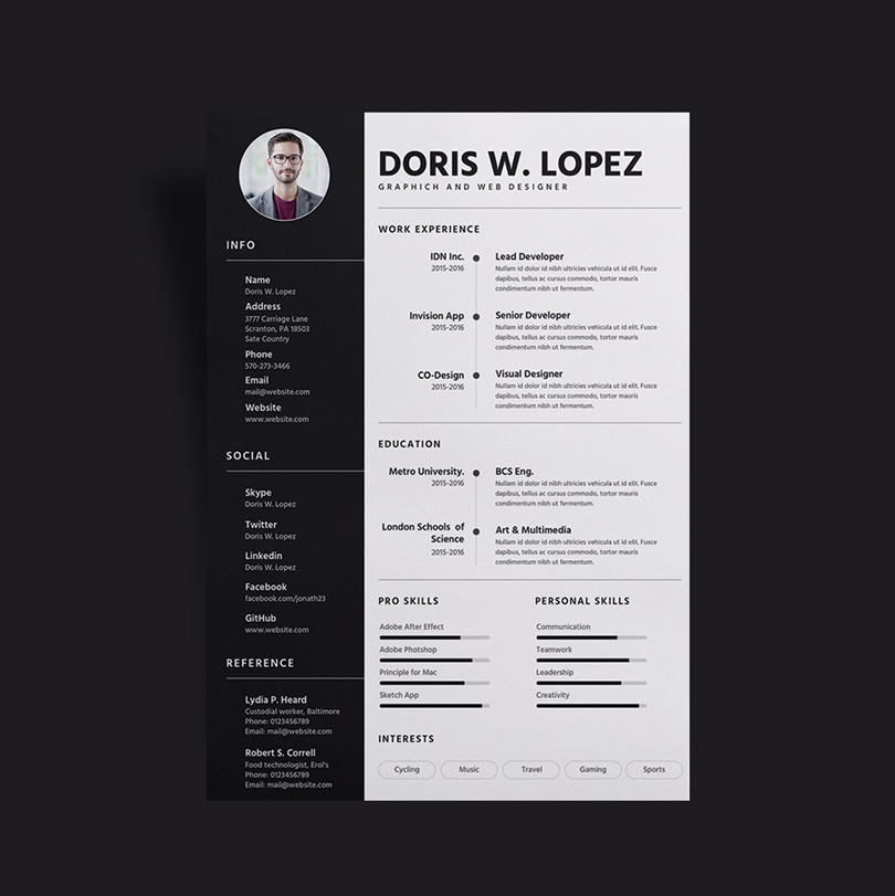 free simple  u0026 professional resume  cv  design template for designer  u0026 developer sketch file