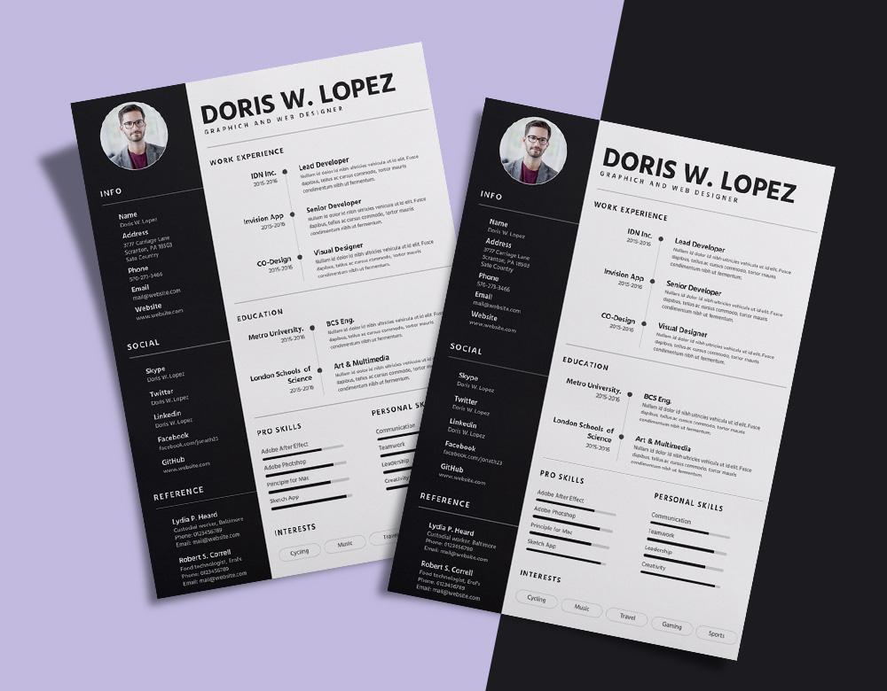 free simple  u0026 professional resume  cv  design template for designer  u0026 developer sketch file