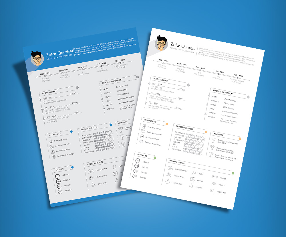 Simple Resume (CV) Template Design For Art Director & Photographer Free Ai File (3)