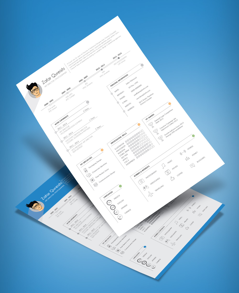 Simple Resume (CV) Template Design For Art Director & Photographer Free Ai File (4)