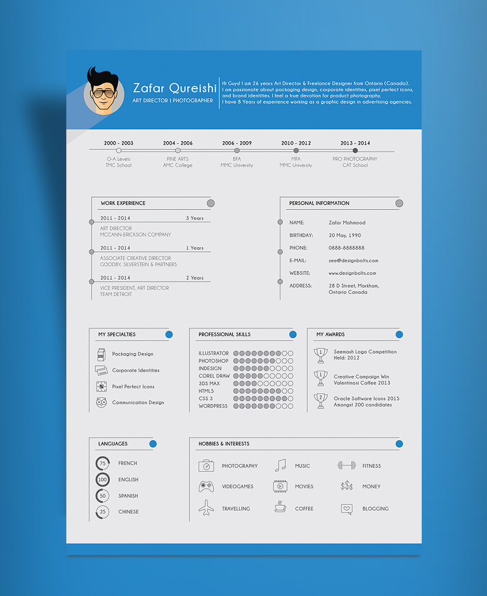free simple resume  cv  template design for art director  u0026 photographer ai file