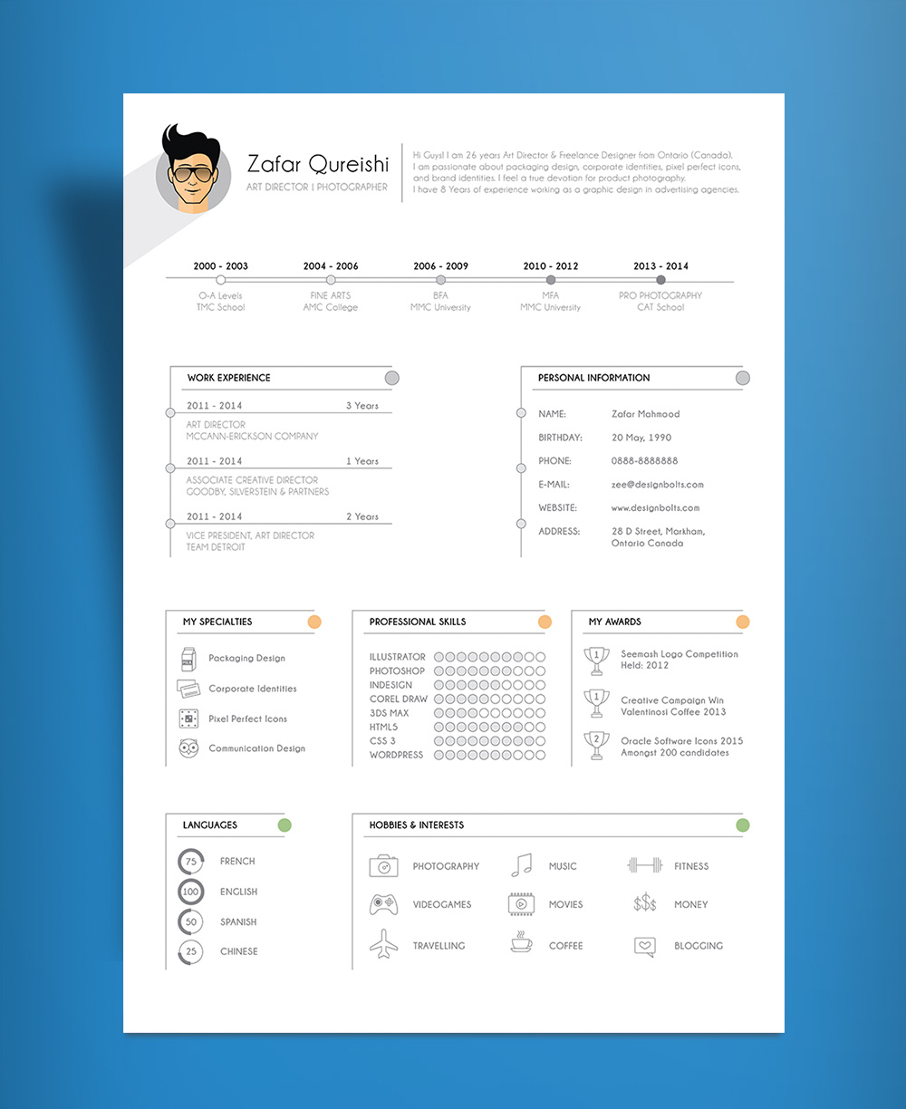 Simple Resume (CV) Template Design For Art Director & Photographer Free Ai File (6)