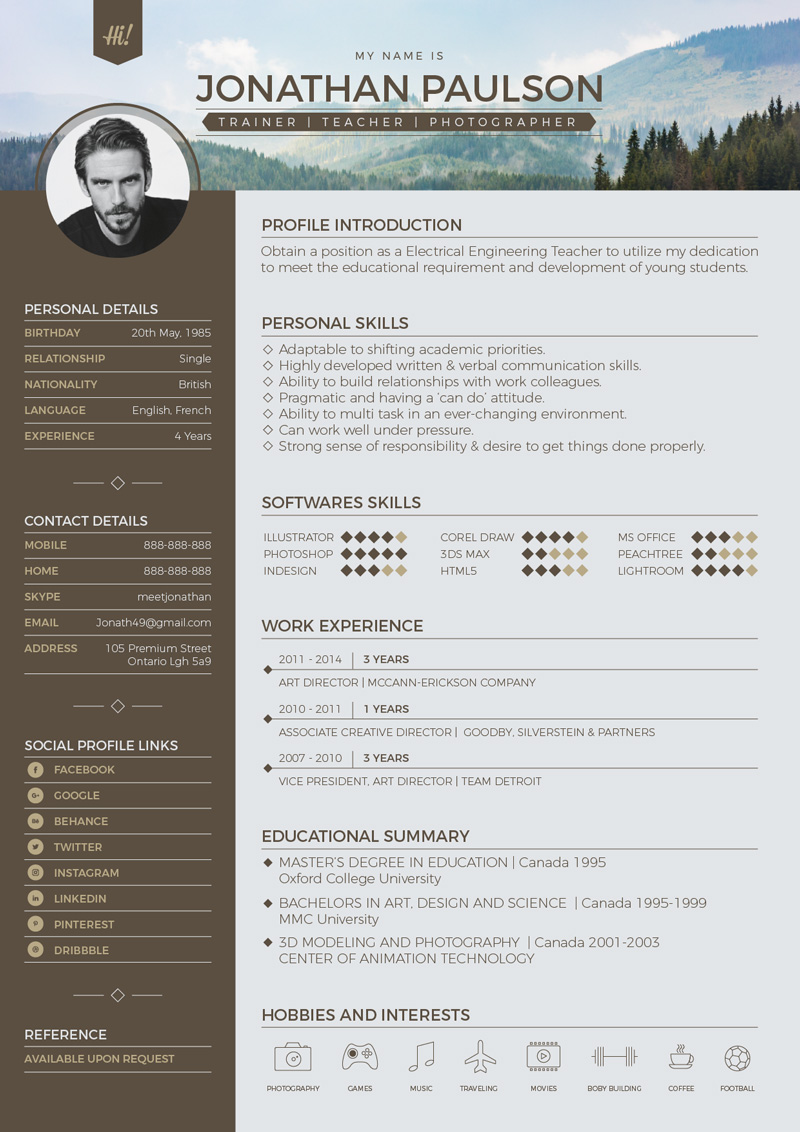 Free-Modern-Resume-CV-Design-Template-Vector-Ai