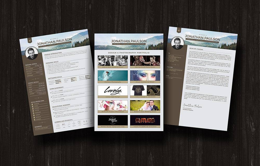 Free Professional Modern Resume (Cv), Portfolio Page & Cover