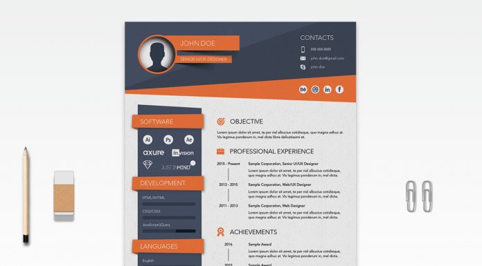 Free Creative Resume (CV) Design Template Ai File (1)