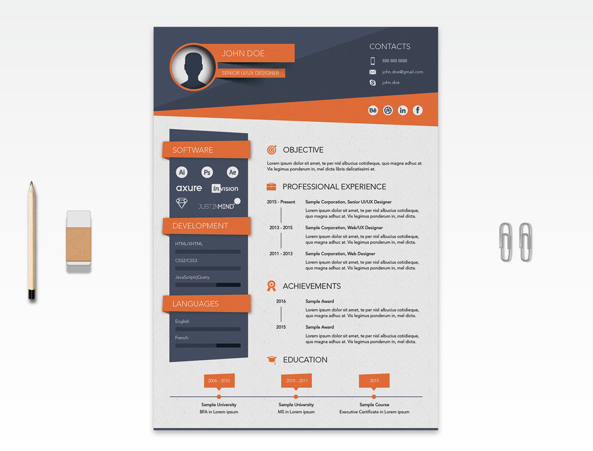 free creative resume  cv  design template ai file
