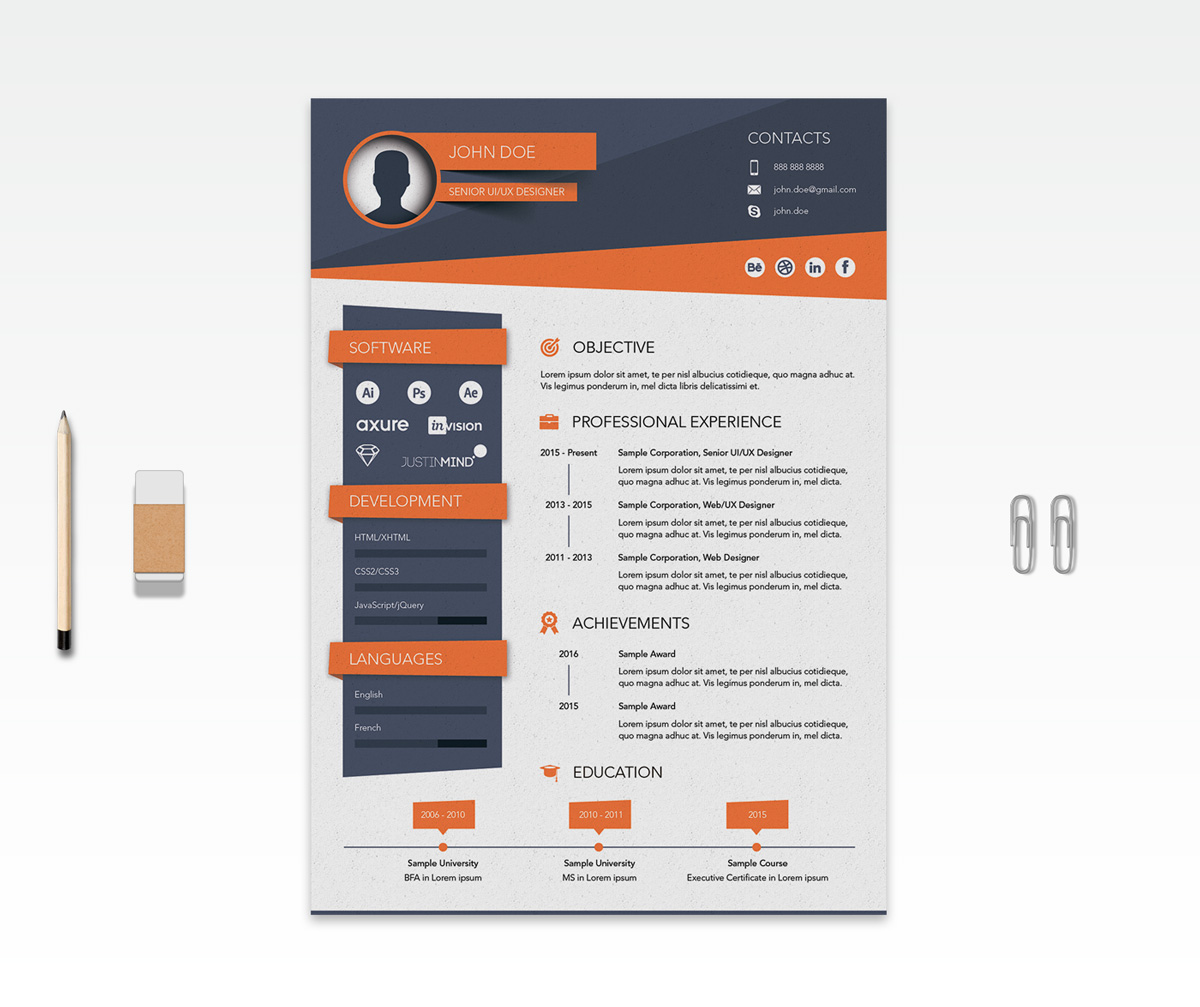 Free Creative Resume (CV) Design Template Ai File (2)